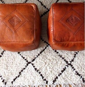 Moroccan Square Leather Poufs